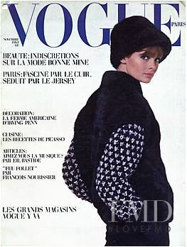Jean Shrimpton featured on the Vogue Paris cover from November 1963