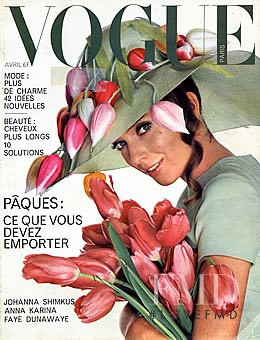 Johanna Skimkus featured on the Vogue Paris cover from April 1968