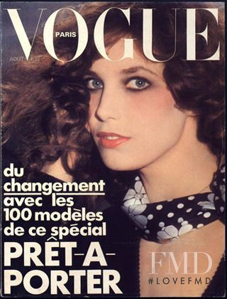 Jane Birkin featured on the Vogue Paris cover from August 1974
