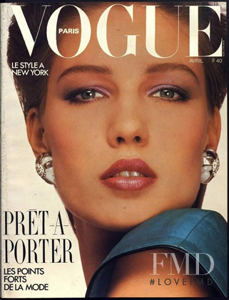 Renata Vackova featured on the Vogue Paris cover from April 1985