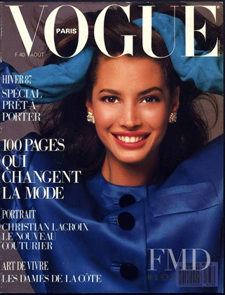 Christy Turlington featured on the Vogue Paris cover from August 1987
