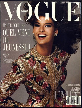 Linda Evangelista featured on the Vogue Paris cover from September 1987