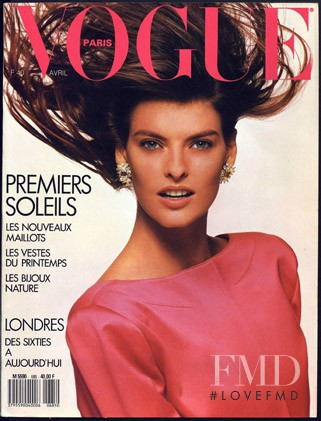 Linda Evangelista featured on the Vogue Paris cover from April 1988