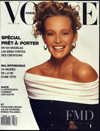 Estelle Lefébure featured on the Vogue Paris cover from February 1988