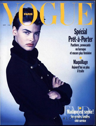 Linda Evangelista featured on the Vogue Paris cover from August 1989