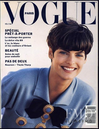 Linda Evangelista featured on the Vogue Paris cover from February 1989