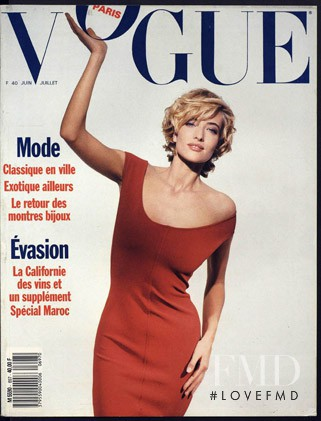 Tatjana Patitz featured on the Vogue Paris cover from June 1989