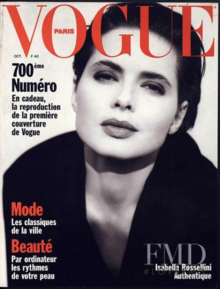 Isabella Rossellini featured on the Vogue Paris cover from October 1989