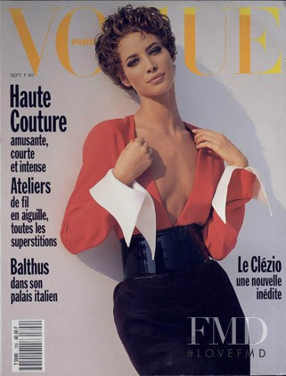 Christy Turlington featured on the Vogue Paris cover from September 1990
