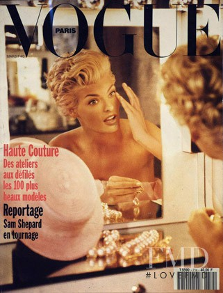 Linda Evangelista featured on the Vogue Paris cover from March 1991