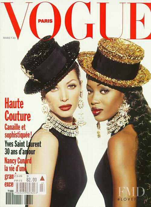 Christy Turlington, Naomi Campbell featured on the Vogue Paris cover from March 1992