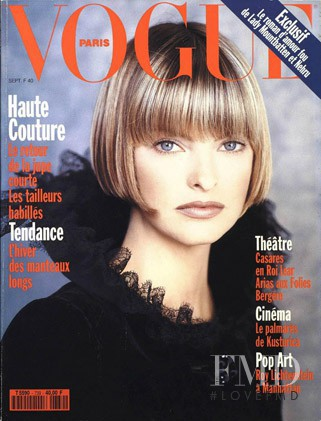 Linda Evangelista featured on the Vogue Paris cover from September 1993