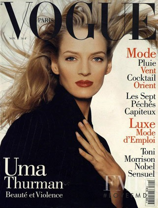 Uma Thurman featured on the Vogue Paris cover from November 1994