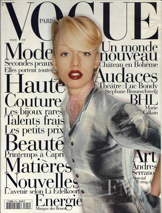 Anne Pedersen featured on the Vogue Paris cover from March 1995