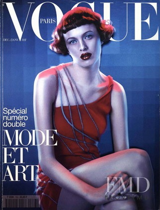 Karen Elson featured on the Vogue Paris cover from December 1997