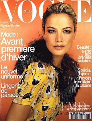 Carolyn Murphy featured on the Vogue Paris cover from June 2000