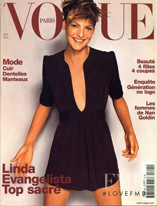 Linda Evangelista featured on the Vogue Paris cover from October 2001