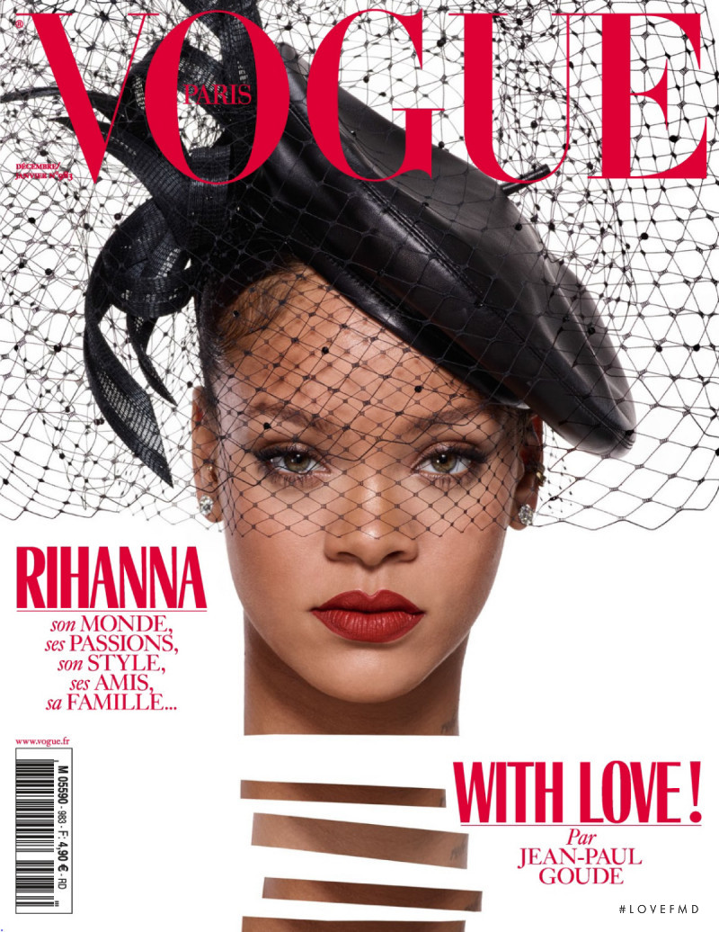 Rihanna featured on the Vogue Paris cover from December 2017