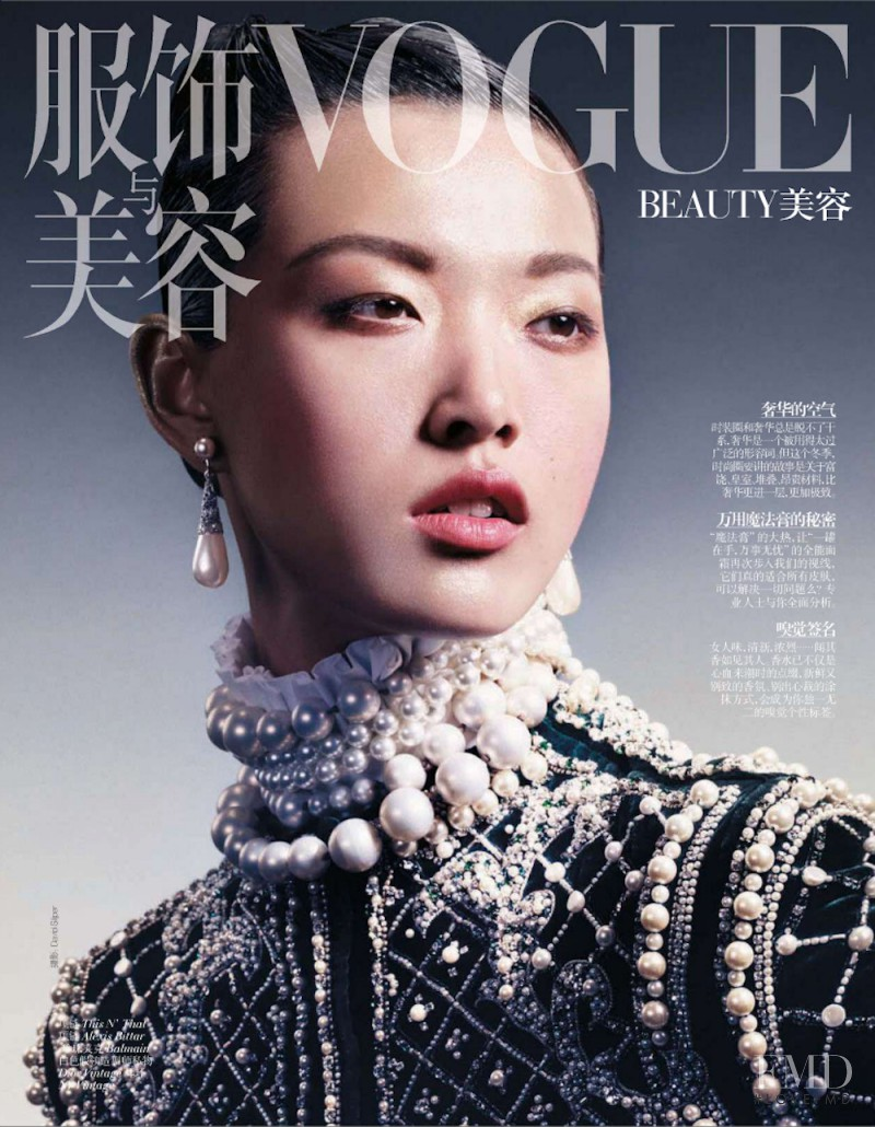 Tian Yi featured on the Vogue China cover from January 2013