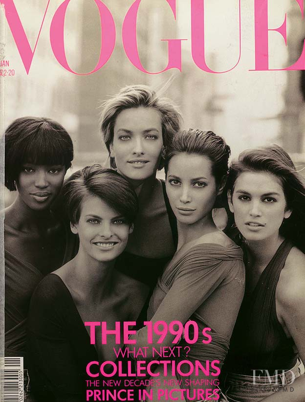 Tatjana Patitz featured on the Vogue UK cover from January 1990