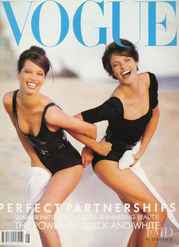 Christy Turlington, Linda Evangelista featured on the Vogue UK cover from May 1990
