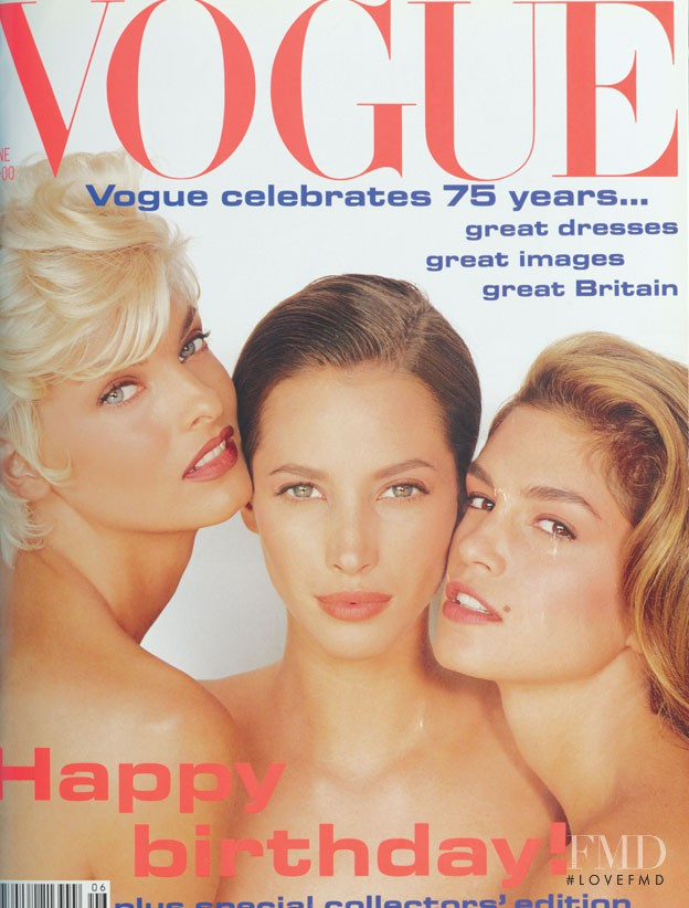 Christy Turlington, Cindy Crawford, Linda Evangelista featured on the Vogue UK cover from June 1991