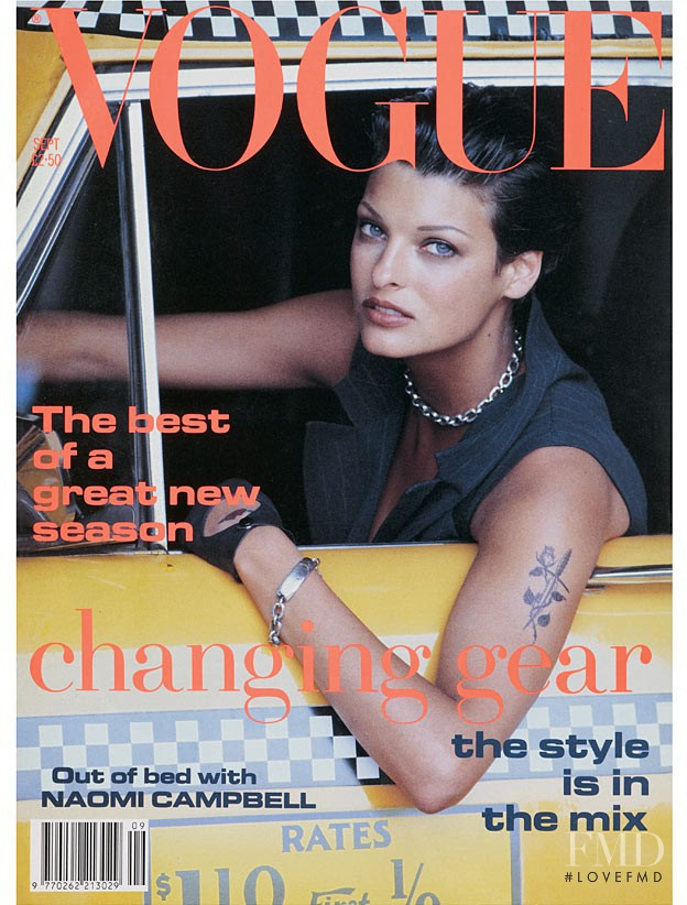 Linda Evangelista featured on the Vogue UK cover from September 1992