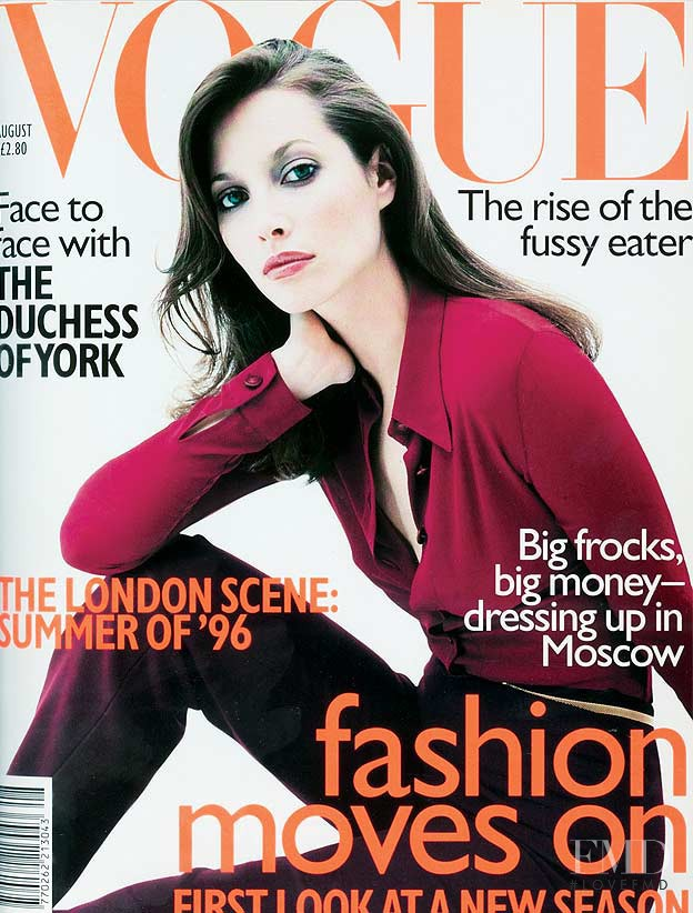 Christy Turlington featured on the Vogue UK cover from August 1996