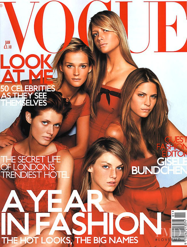 Angela Lindvall, Carmen Kass, Frankie Rayder, Ana Claudia Michels, Malgosia Bela featured on the Vogue UK cover from January 2001