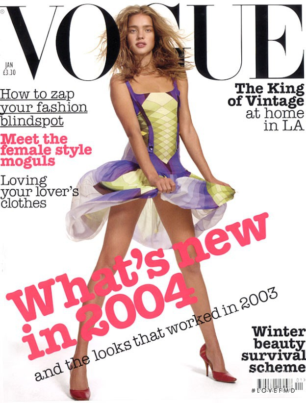 Natalia Vodianova featured on the Vogue UK cover from January 2004