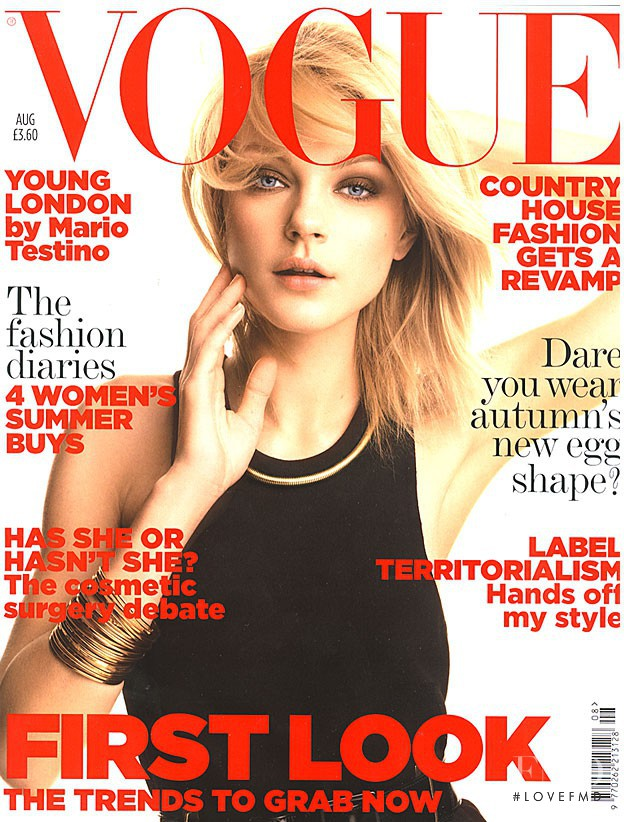 Jessica Stam featured on the Vogue UK cover from August 2006