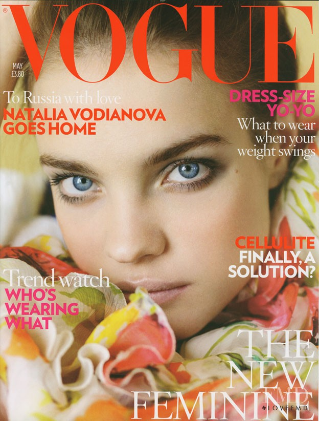 Natalia Vodianova featured on the Vogue UK cover from May 2008