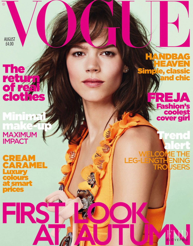 Freja Beha Erichsen featured on the Vogue UK cover from August 2010