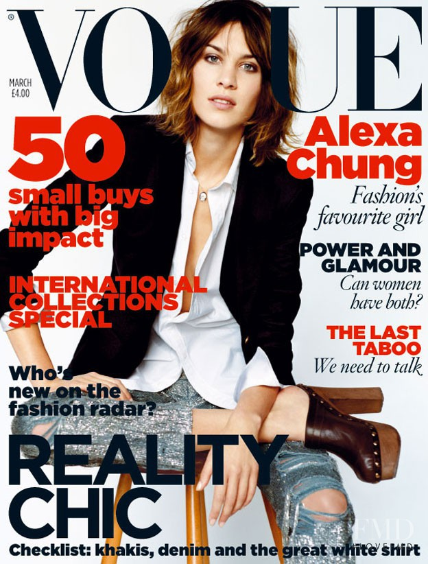 Alexa Chung featured on the Vogue UK cover from March 2010