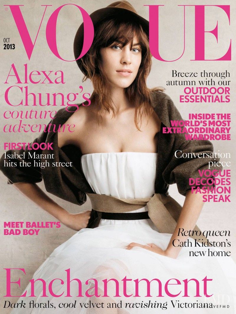 Alexa Chung featured on the Vogue UK cover from October 2013