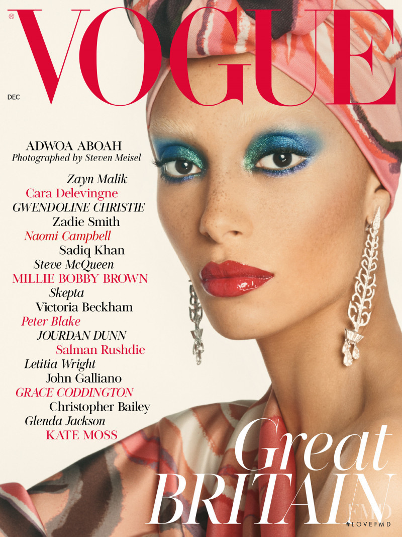 Adwoa Aboah featured on the Vogue UK cover from December 2017