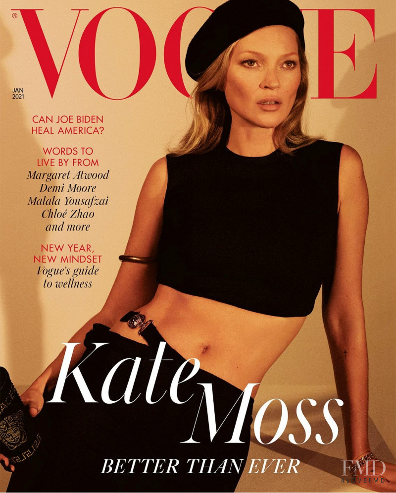 Kate Moss featured on the Vogue UK cover from January 2021