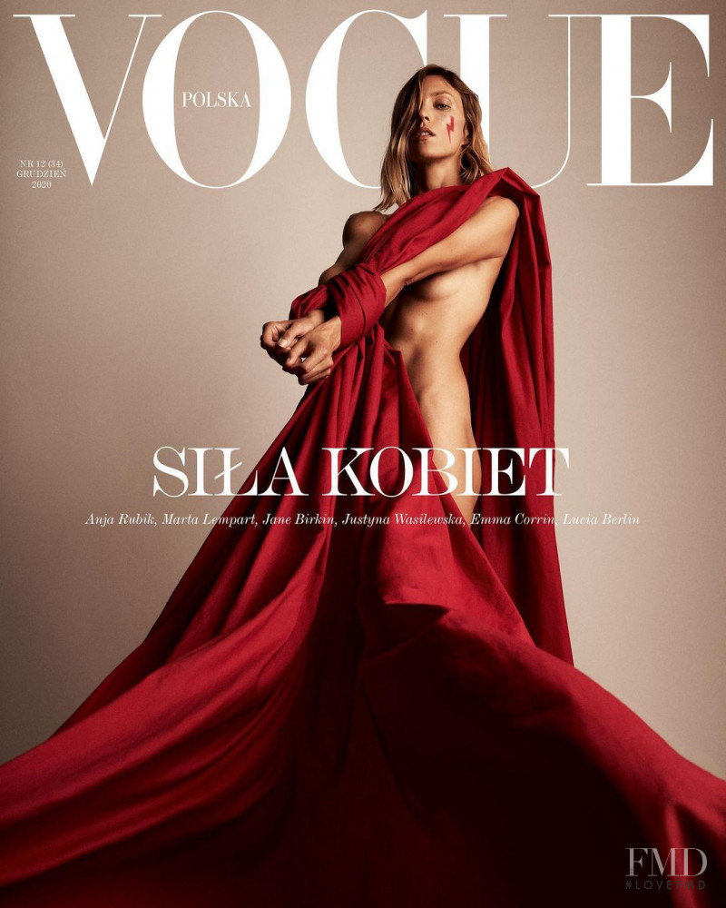 Anja Rubik featured on the Vogue Poland cover from December 2020