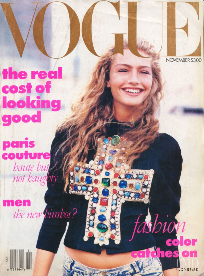 Michaela Bercu featured on the Vogue USA cover from November 1988