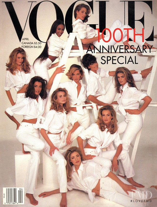 Christy Turlington, Cindy Crawford, Claudia Schiffer, Karen Mulder, Niki Taylor, Linda Evangelista, Naomi Campbell featured on the Vogue USA cover from April 1992