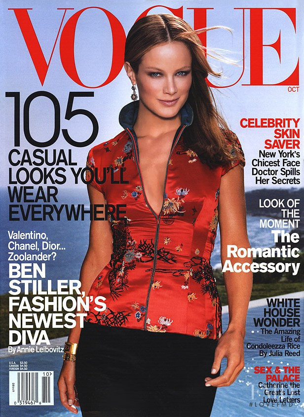 Carolyn Murphy featured on the Vogue USA cover from October 2001