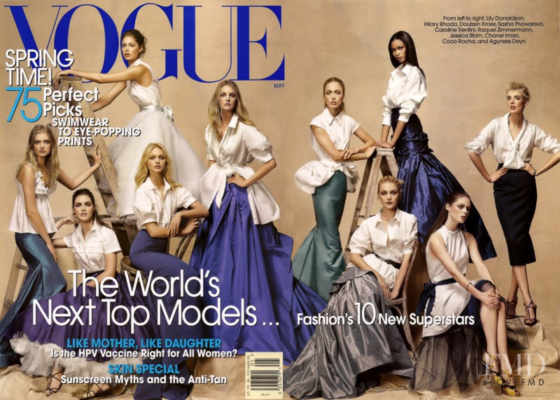 Raquel Zimmermann, Jessica Stam, Doutzen Kroes, Caroline Trentini, Hilary Rhoda, Lily Donaldson, Coco Rocha, Sasha Pivovarova, Agyness Deyn, Chanel Iman featured on the Vogue USA cover from May 2007