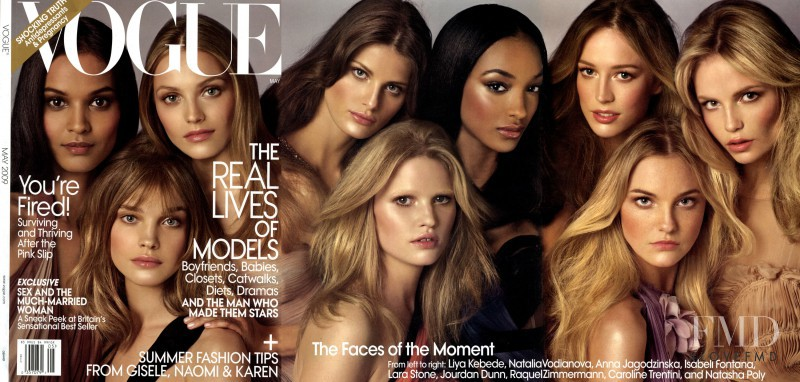 Isabeli Fontana, Raquel Zimmermann, Natalia Vodianova, Liya Kebede, Lara Stone, Anna Maria Jagodzinska, Caroline Trentini, Natasha Poly, Jourdan Dunn featured on the Vogue USA cover from May 2009
