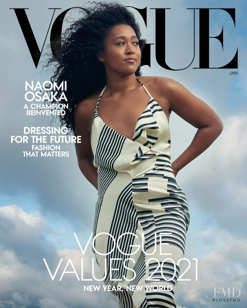 Naomi Osaka featured on the Vogue USA cover from January 2021