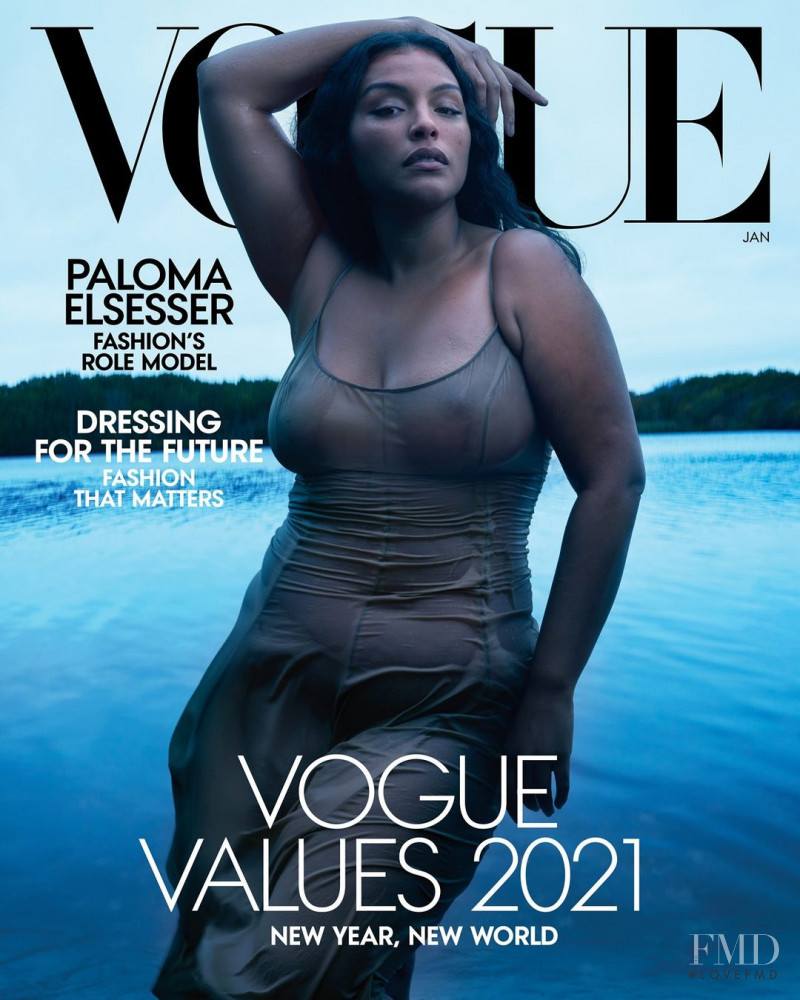 Paloma Elsesser featured on the Vogue USA cover from January 2021
