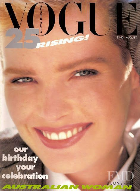 Carol Jackson featured on the Vogue Australia cover from August 1984