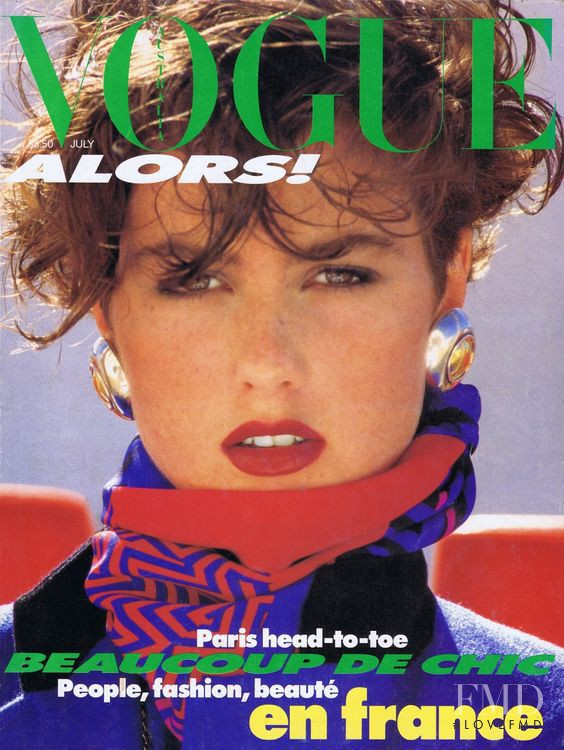 Julie Wolfe featured on the Vogue Australia cover from July 1984