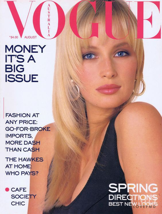 Estelle Hallyday (Lefebure) featured on the Vogue Australia cover from August 1987