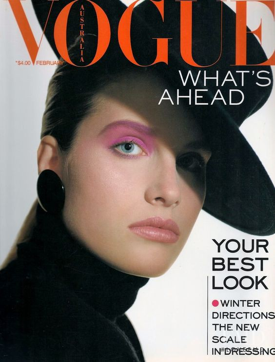 Monika Schnarre featured on the Vogue Australia cover from February 1988