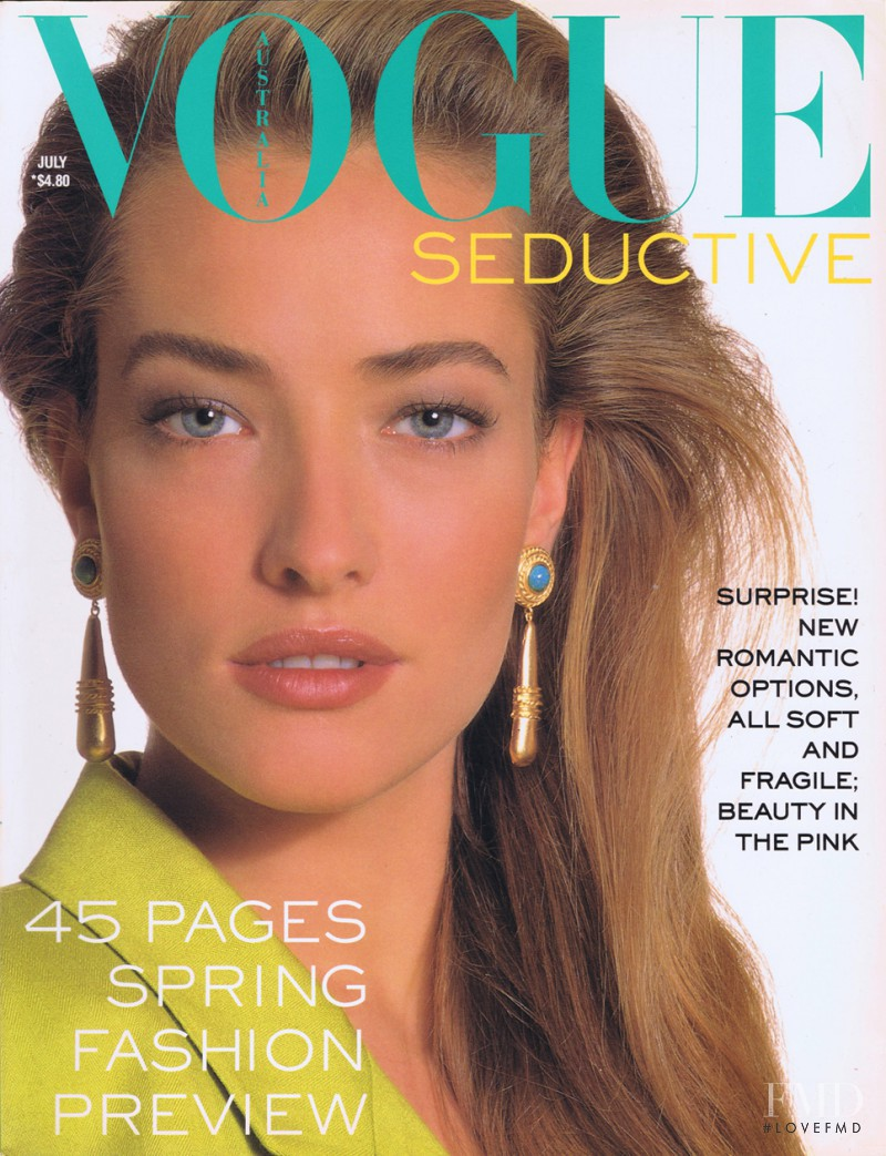 Tatjana Patitz featured on the Vogue Australia cover from July 1988